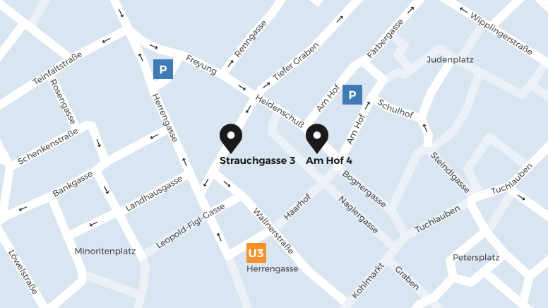 The two OeKB sites on a map of Vienna